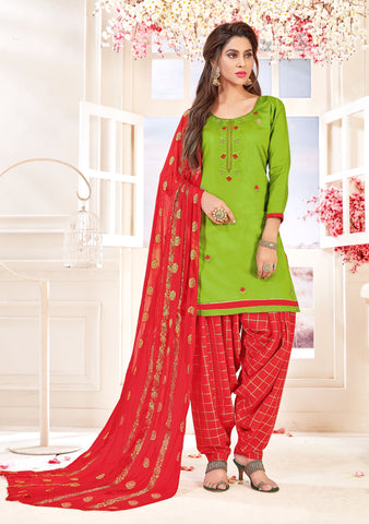 Green Color Glace cotton UnStitched Salwar - SUHAGAN-5005