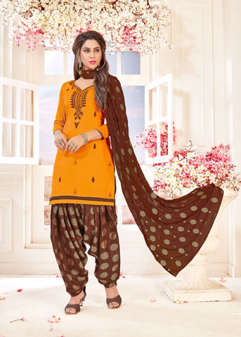 Yellow Color Glace cotton UnStitched Salwar - SUHAGAN-5007