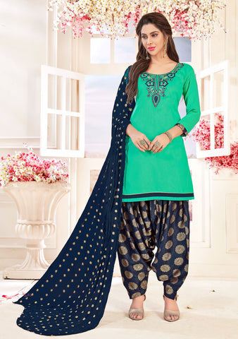 Green Color Glace cotton UnStitched Salwar - SUHAGAN-5010