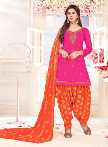 Pink Color Glace cotton UnStitched Salwar - SUHAGAN-5011