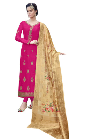 Pink Color Satin Georgette Women's Semi Stitched Salwar Suit - SUHAN2203