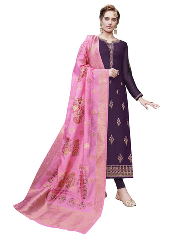Purple Color Satin Georgette Women's Semi Stitched Salwar Suit - SUHAN2206