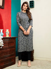 Buy Grey Color Rayon Stitched Kurti
