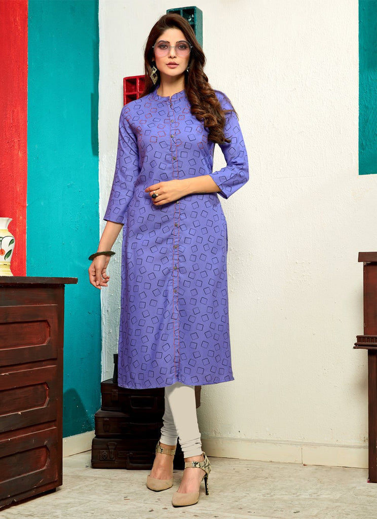 Buy Lavender Color Rayon Stitched Kurti