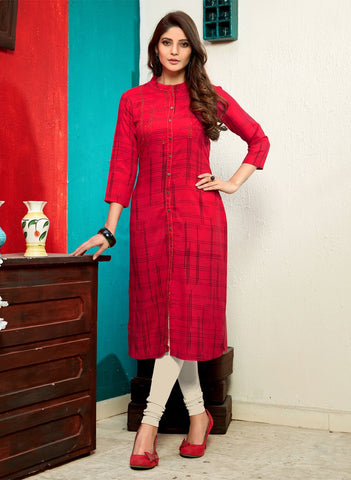 Red Color Rayon Stitched Kurti  - SW3-3005