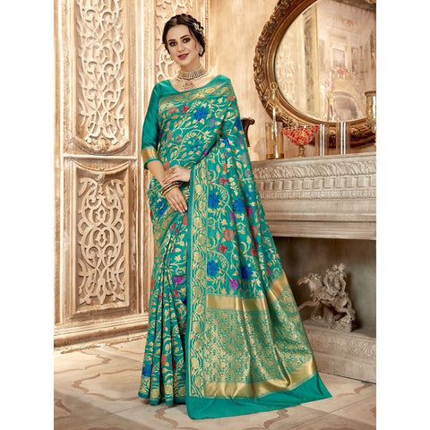 Sea Green Color Jacquard Silk Saree - SWCR80801
