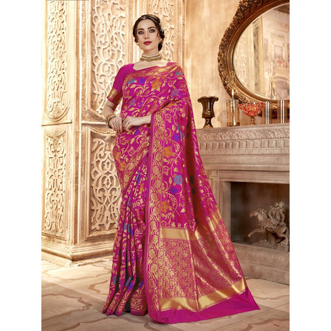 Magenta Color Jacquard Silk Saree - SWCR80803