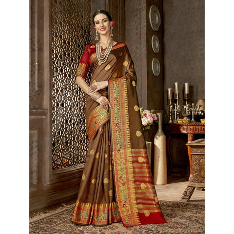 Brown Color Art Silk Saree - SWNM40108