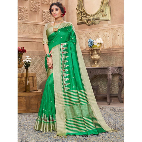 Green Color Art Silk Saree - SWSD154