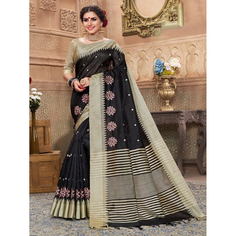 Black Color Art Silk Saree - SWSD158