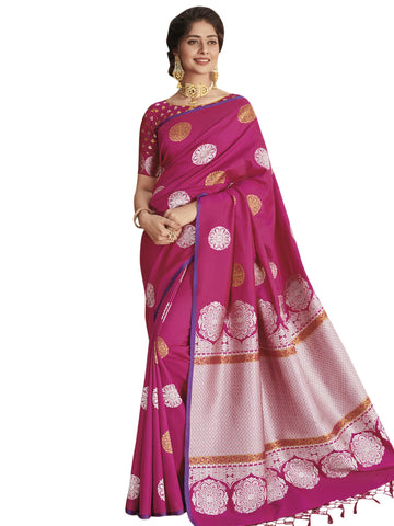Magenta Color Banarasi Silk Saree - SYS-2126