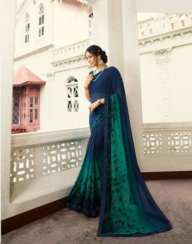 Navy Blue Color Georgette Saree - S_328