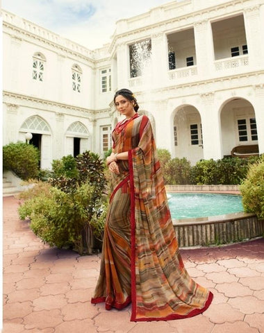 Coffee Color Georgette Saree - S_528
