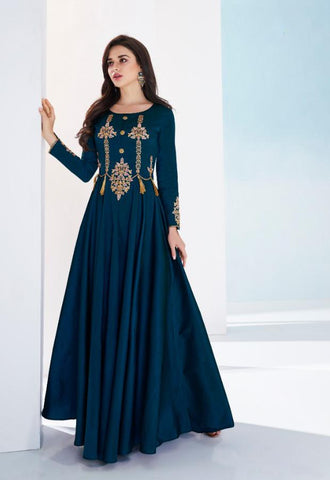 RoyalBlue Color Soft Tapeta Silk Stitched Kurti - Saanvi-26001