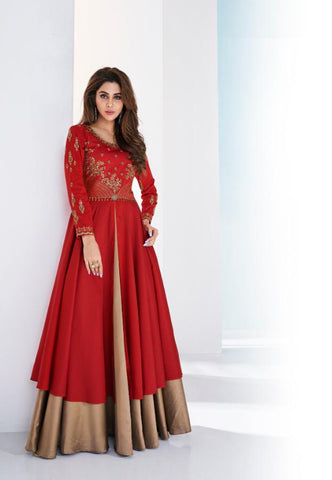 Red Color Soft Tapeta Silk Stitched Kurti - Saanvi-26002