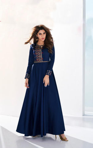 NavyBlue Color Soft Silk Stitched Kurti - Saanvi-26004