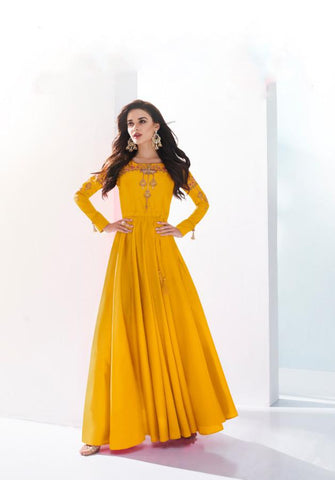 Yellow Color Soft Silk Stitched Kurti - Saanvi-26005