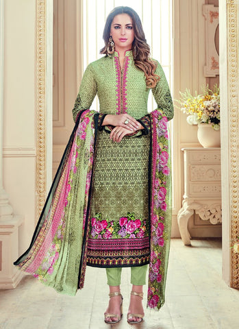Multi Color Pure Cambric Cotton Semi Stitched Salwar - Sajawat-813