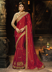 Buy Red Color Chiffon Saree