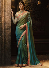 Buy Green Color Sayna Silk Saree