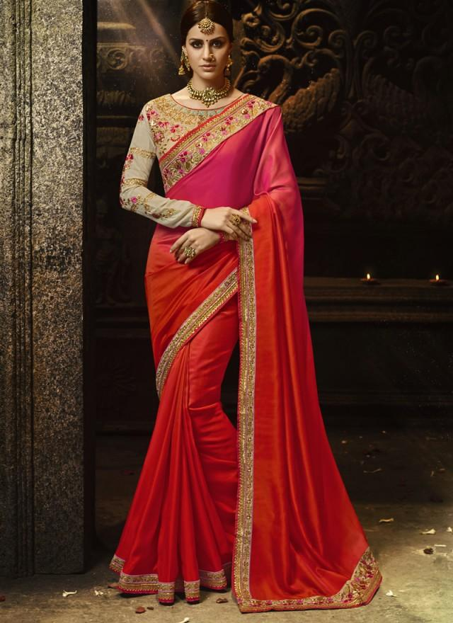Buy Orange Color Sayna Silk Saree
