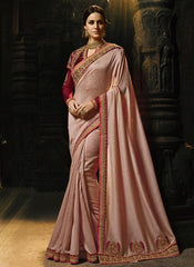 Buy Peach Color Magic Silk Saree