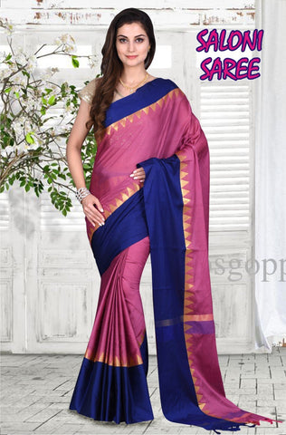 Pink and Rblue Color Cotton Masaraised Saree - Salooni-003