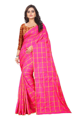 Magenta Color Sana Checks Saree - Sana-Checks-Magenta