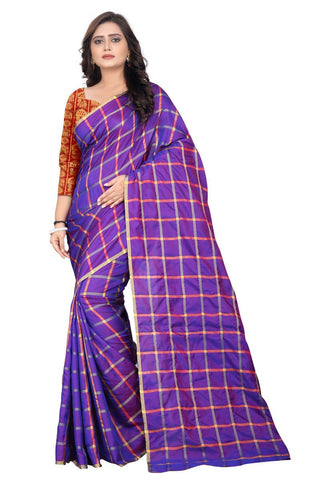 Purple Color Sana Checks Saree - Sana-Checks-Purple