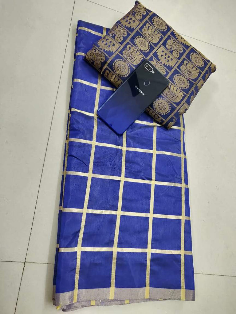 Buy Royal Blue Color Sana Silk Saree