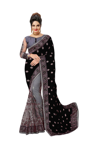 Black Color Satin Women's Saree - Sari-608black