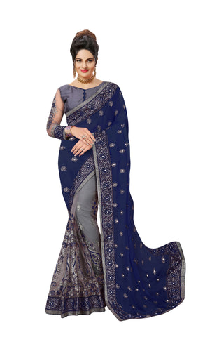 Blue Color Satin Women's Saree - Sari-608blue