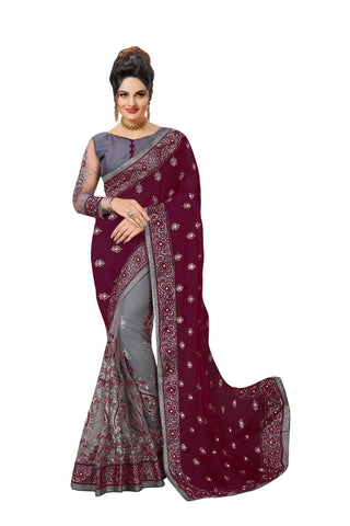 Pink Color Satin Women's Saree - Sari-608purple
