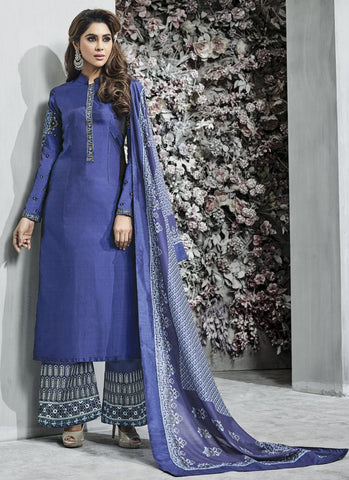 Blue Color Banarasi Silk Semi Stitched Salwar - Sarthi-508