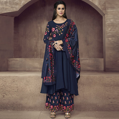Dark Blue Color Silk Semi-Stitched Salwar  - Sarthi2-511
