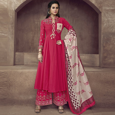 Pink Color Silk Semi-Stitched Salwar  - Sarthi2-512