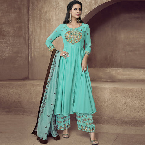 Sky Blue Color Silk Semi-Stitched Salwar  - Sarthi2-513