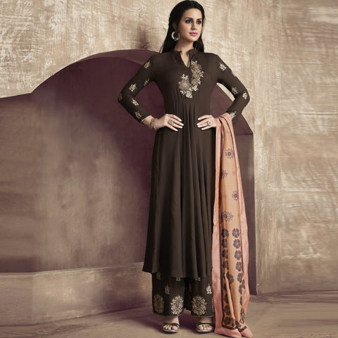 Brown Color Silk Semi-Stitched Salwar  - Sarthi2-514