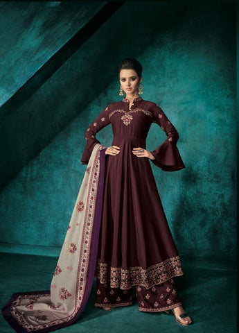 Wine Color Pure heavy Maslin Stitched  Salwar  - Sarthi5-721
