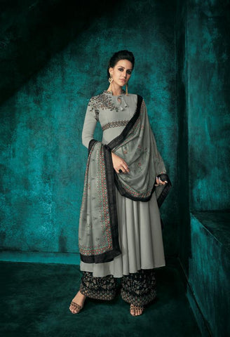 Grey Color Pure heavy Maslin Stitched  Salwar  - Sarthi5-722
