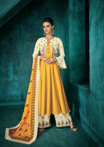Yellow Color Pure heavy Maslin Stitched  Salwar  - Sarthi5-723