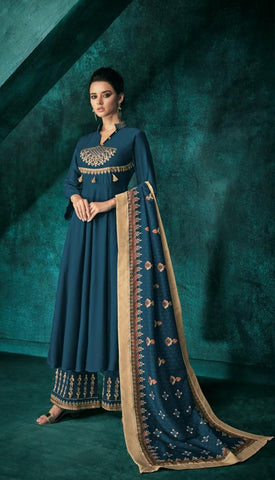 Blue Color Pure heavy Maslin Stitched  Salwar  - Sarthi5-725