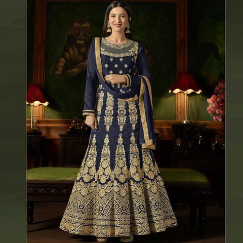 Navy Blue Color Silk Semi-Stitched Salwar  - Sashi20-12169