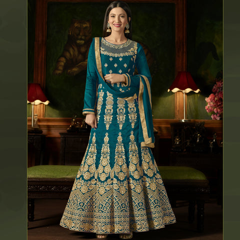 Teal Blue Color Silk Semi-Stitched Salwar  - Sashi20-12171