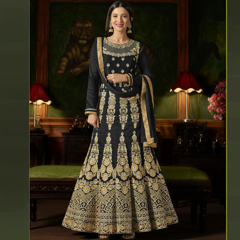 Black Color Silk Semi-Stitched Salwar  - Sashi20-12172