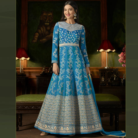Sky Blue Color Silk Semi-Stitched Salwar  - Sashi20-12173