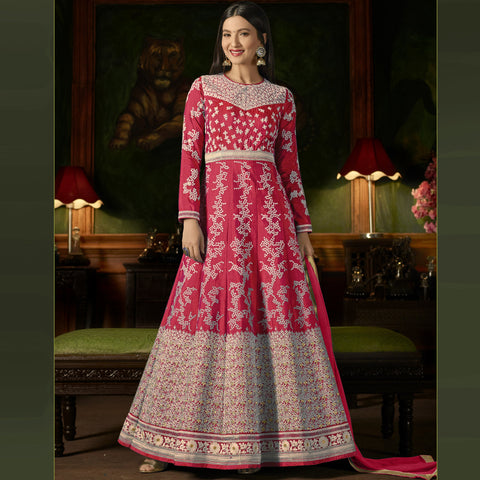 Pink Color Silk Semi-Stitched Salwar  - Sashi20-12174