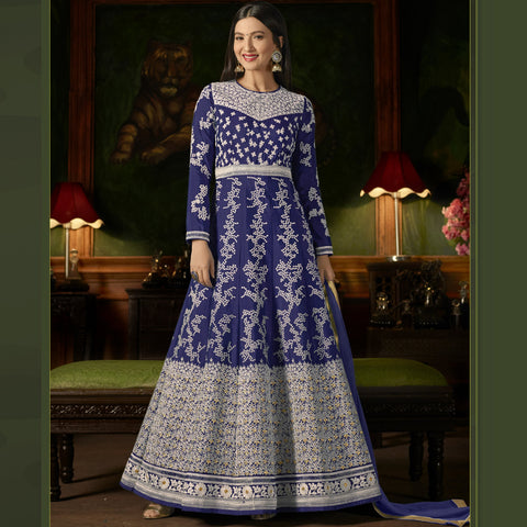 Blue Color Silk Semi-Stitched Salwar  - Sashi20-12175