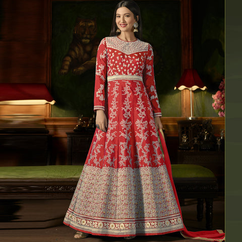 Red Color Silk Semi-Stitched Salwar  - Sashi20-12176