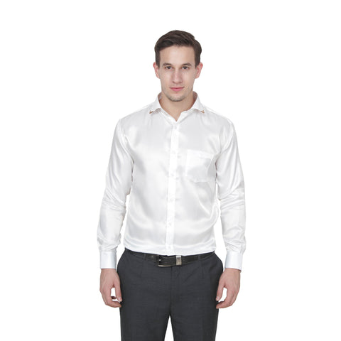 Silver Color Cotton Blend Slim Fit Shirts - Satin-Silver